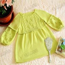 手工编织儿童毛衣款式之棒针泡袖叶子花套头衫