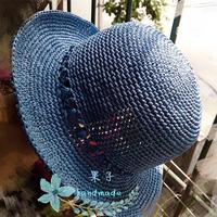 手工编织夏季帽子款式之女士钩针棉草帽