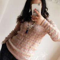 女士手编毛衣款式之棒针六边形花样休闲套衫