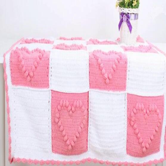 零基礎鉤毯視頻教程教你織波波球愛心毛毯(2-1)