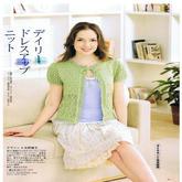 草绿色小清新女孩棒针系带短袖开衫