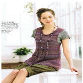 少女款紫色段染棒针麻花卷领长款背心