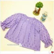 手工编织宝宝毛衣款式之棒针圆领裙式外搭小开衫