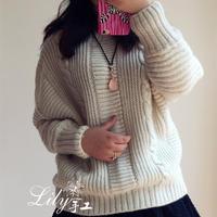 手工编织春秋毛衣款式之女士白色蝙蝠袖休闲毛衣