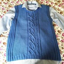 手编男士毛衣款式之经典美丽诺羊毛棒针麻花背心