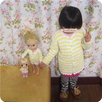 宝宝钩衣及同款娃娃衣套装之女童钩针黄白条纹长袖春夏开衫