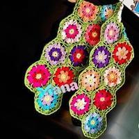 儿童手编围巾款式之花海钩针小围巾