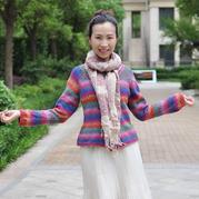 女士手工编织毛衣款式之段染棒针插肩袖毛衣