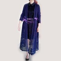 手工编织女士毛衣之超级拉风网格玫瑰图案钩针风衣