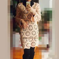 女士春秋手编毛衣款式之云棉2钩针长袖拼花连衣裙