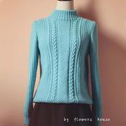 手编女士毛衣款式之经典羊毛棒针套头毛衣