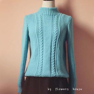 女士高领打底毛衣_手编女士毛衣款式之经典羊毛棒针套头毛衣-编织教程-编织人生