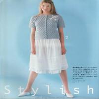 少女钩针天蓝色圆领绣花短袖开衫