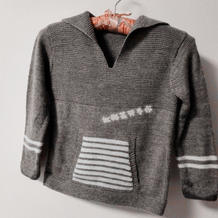 儿童经典手编毛衣款式之简单帅气男孩子棒针翻领套头毛衣