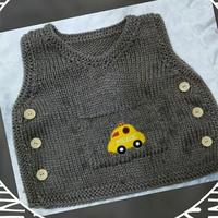 手工编织婴幼儿毛衣款式之侧开扣棒针口袋背心