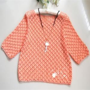 女士夏季手工编织钩衫之短款减龄款钩针套头衫