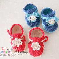 宝宝毛线鞋编织视频教你织婴幼儿棒针单桂花浅口鞋(3-2)hellokitty图案的钩法