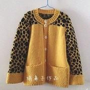 儿童手编毛衣款式之萌芽棒针豹纹图案提花开衫