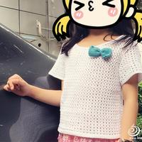 儿童夏季手工编织服饰款式之不需要穿打底的钩针女童短袖T恤