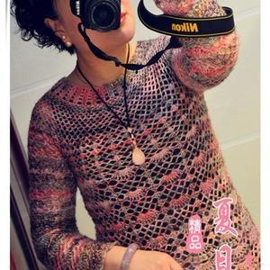 從上往下織圓領毛衣款式之女士唯美鉤針圓肩套頭衫