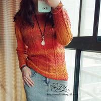 女士毛衣编织款式之春秋棒针段染套头衫