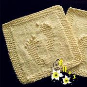 新生儿礼物之手编棒针小脚丫图案婴儿毛巾