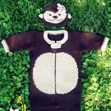 创意编织之棒针婴幼儿小猴图案睡袋 附配套小猴帽一款