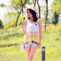 钩针编织夏季上衣之女士钩针蛋糕吊带衫 亲子装之妈妈款