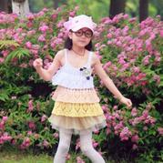 儿童夏季钩衣之女童钩针蛋糕吊带衫 亲子装之儿童款