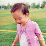 儿童手编毛衣款式之从上往下织云棉2棒针女童春秋中袖开衫