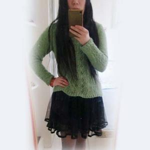 女士手编春秋毛衣款式之欧编开衫改版棒针柔美套衫