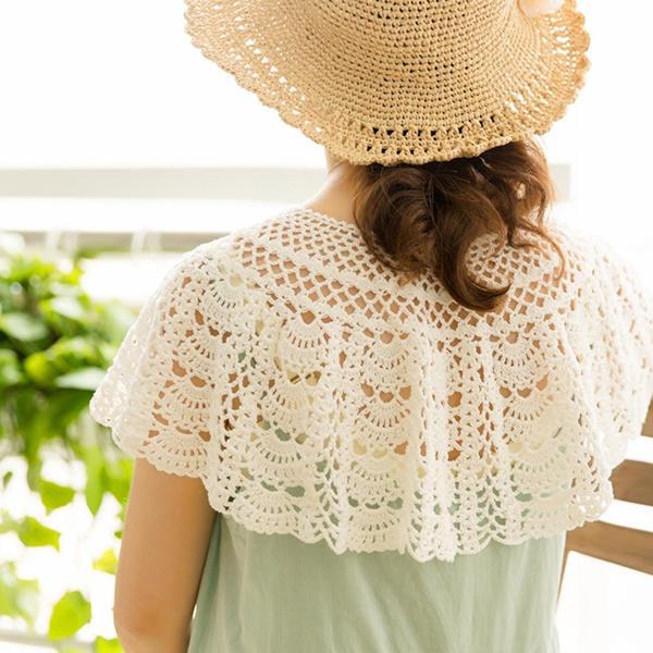 零基礎鉤針視頻教程教你鉤夏季美飾之扇形花樣蕾絲披肩(2-2)