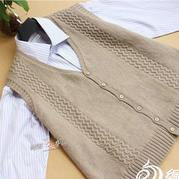 手编男士毛衣款式之棒针波浪花纹V领背心