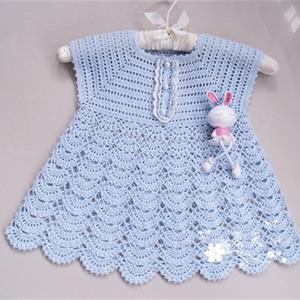 儿童夏季钩衣之从上往下钩宝宝连衣裙