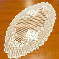 唯美钩针蕾丝台布图解 玫瑰花图案方格编椭圆形桌布