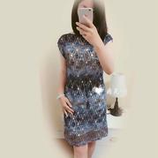 女士手工编织钩裙款式之段染色旗袍风连衣裙