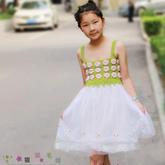 儿童夏季钩衣之钩针拼花吊带纱裙编织视频教程(3-3)