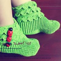 手工编织袜子视频教程教你钩成人款多层袜筒地板袜(2-1)