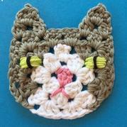创意编织花样之趣味祖母方格猫咪单元花图案 有详细编织过程