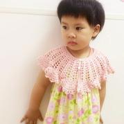 简单漂亮粉嫩系儿童钩针公主披肩