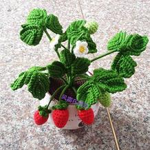 毛线钩针花卉 钩针草莓盆景图解
