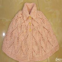 粉色萌点点棒针宝宝翻领披肩斗篷