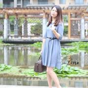 女士春夏棒针七分袖小礼服裙
