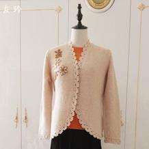 原型制图设计的女士棒针女士圆角外套开衫