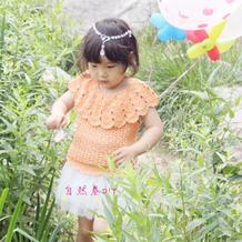 女童钩针披肩领短袖套头衫