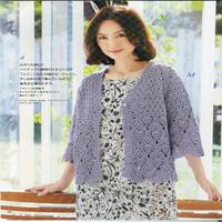 女士钩针雾紫色七分袖菠萝花开衫