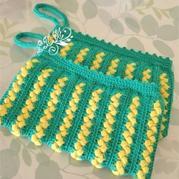 女士钩针编织双色枣花手拿包编织图文教程