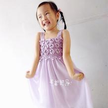 儿童钩针花朵吊带纱裙(附实用手缝纱裙教程)