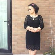 女士钩针雀羽花七分袖连衣裙