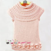 儿童韩版毛衣编织视频教你从上往下织宝宝圆领连衣裙(2-1)